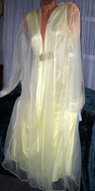 Yellow Nightgown Robe Set 1X 2X 4X Nylon Chiffon 2 piece Semi Sheer - $39.35