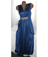 Long Nightgown Navy Blue with Gold Accent  2X Grecian Style Plus Size Linge - $461,90 MXN