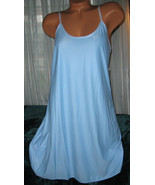 Stretch Nylon Nightgown Slip Chemise 1X Plus Powder Blue Short Gown - $16.98