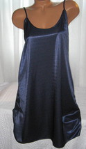 Shiny Poly Satin Chemise 1X 2X 3X 4X Navy Blue - $16.98