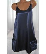 Shiny Poly Satin Chemise 1X 3X Navy Blue - $16.98