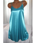 Shiny Poly Satin Chemise 1X Jade Green - $16.98