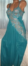 Cross Dyed Lace Long Nightgown 1X 2X 3X Nylon Persian Green Lingerie Slit - $23.00