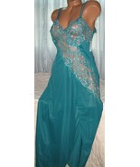 Cross Dyed Lace Long Nightgown 1X 4X Nylon Persian Green Lingerie Slit - $23.00