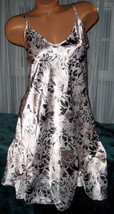 White Taupe Black Floral Chemise 1X 2X 3X Short Gown Plus Size Adjustabl... - $12.50