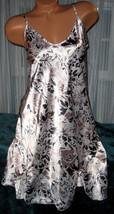 White Taupe Black Floral Chemise 1X 2X 3X Short Gown Plus Size Adjustabl... - $12.50