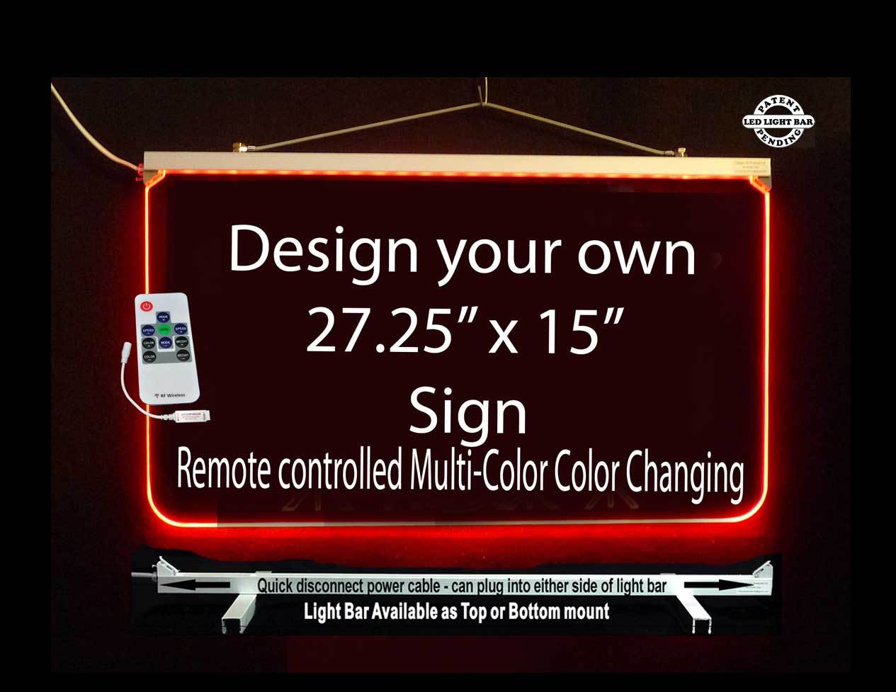 "Primary image for Personalized LED Sign-Design your own Sign,  Multi-Color Changing 27.25"" x 15"""