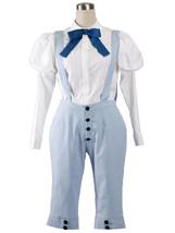 ZeroMart White Blouse Light Blue Pants Japanese Animation School Uniform Cosplay - $35.99