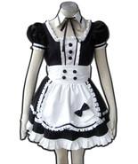ZeroMart White Apron Bow Black Dress Gothic Maid Cosplay Costume Lolita ... - $59.99