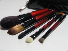 Deluxe Cosmetic 5-Piece Makeup Travel Brush Set + Black Patent Case - $24.00