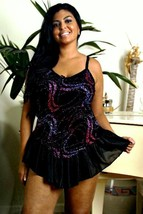 Black Metallic Print Babydoll and Panty Flounce Skirt 1X Lingerie - $22.99