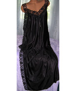 Black Toga Style Lace Open Tie Look Side Long Nightgown 1X Plus Size - $22.75