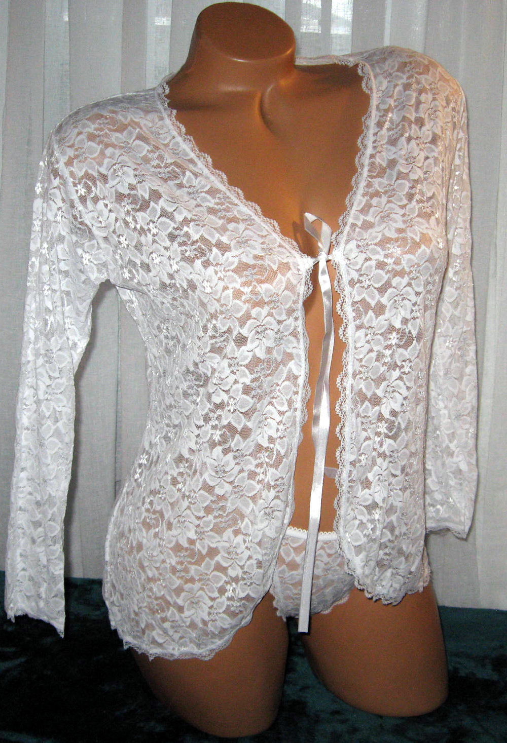 "White Lace Bed Jacket & Thong O/S Regular Bust 40"" Stretch Lace 2 Piece Lingerie"