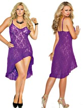 Stretch Lace Purple Nightgow Hi Low Ruffle hem 1X 2X and G String - $21.95