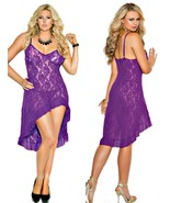 Stretch Lace Purple Nightgow Hi Low Ruffle hem 1X 2X and G String - £15.82 GBP