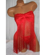 2 Piece Babydolll w/g string Red Fringe One Size Regular 32-38 B/C Stretch Lace - €20,51 EUR