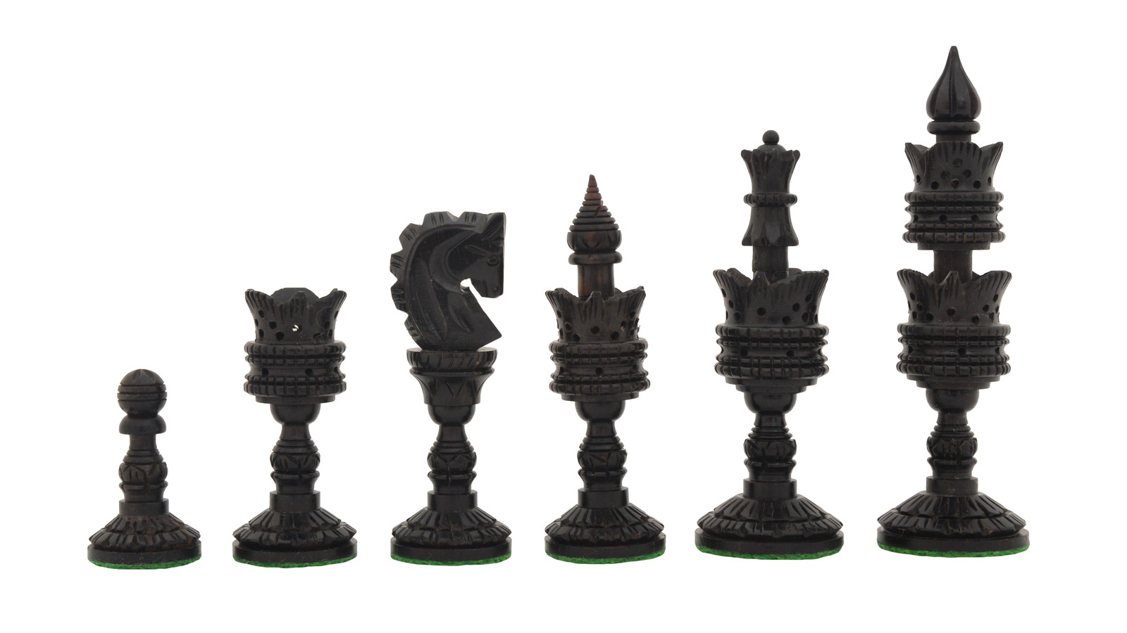 "The Lotus Series Handcarved Wooden Chess Pieces Ebony & Box Wood 4.3"" King M0004"