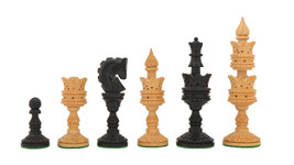 "The Lotus Series Handcarved Wooden Chess Pieces Ebony & Box Wood 4.3"" King M0004 - $86.99"