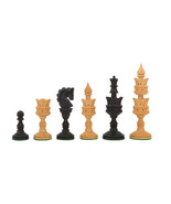 """The Lotus Series Handcarved Wooden Chess Pieces Ebony & Box Wood 4.3"""" Ki... - $86.99"""