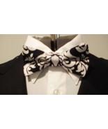 Damask Bowtie Men's Black And White Bow Tie Wedding Bridal Groom Groomsmen - $16.99