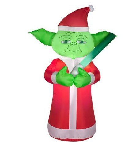 5.5 Foot Star Wars Lighted Airblown Inflatable Christmas Yoda with Santa Hat & L