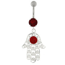 Hamsa Hand with Flowers Dangling Belly Button Ring - $14.60