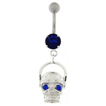 Laughing Skull with Head Phone Dangling Belly Button Ring - $15.10
