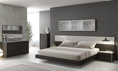 J&M PORTO King Size Bed Chic Modern Light Grey Lacquer & Wenge Veneer