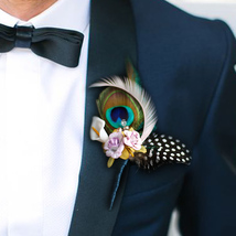 groom corsages Peacock feather boutonniere Purple blue Men best man bout... - $18.00
