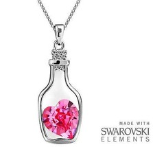 Made with Swarovski Elements Pink Heart in Bottle Pendant and Necklace -... - $11.48