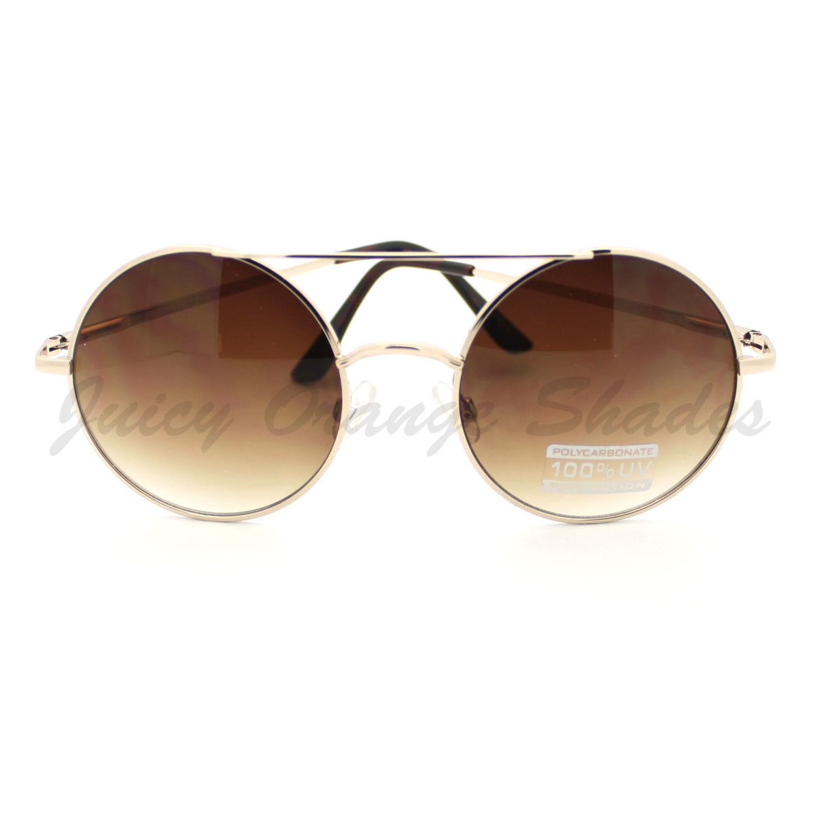 Womens Retro Fashion Sunglasses Round Double Bridge Metal Frame