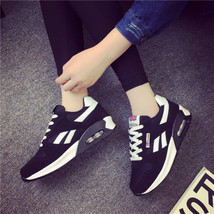 pa020 Low-cut flat heels air cushion sneaker,spell color,size 35-40, black/white - $48.80