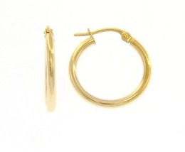 18K YELLOW GOLD ROUND CIRCLE EARRINGS DIAMETER 15 MM, WIDTH 2 MM, MADE IN ITALY image 1