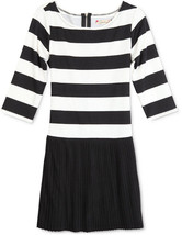 Speechless Girls' Striped Pleated Dress, C3333D02FGAM, Black/Ivory, SIze... - $23.36