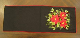 """72"""" Black Table Runner with Embroidered Poinsettia & Red Trim Holiday Decor - $32.62"""