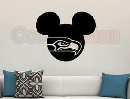 """Mickey Mouse Seattle Seahawks Wall Vinyl Decal Matte Black Room Cutout Decor 23"""" - $24.45"""