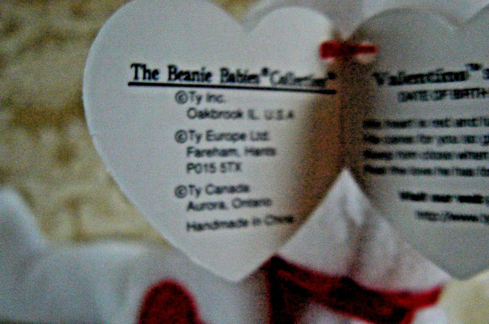 """Rare Ty Original Beanie Babies """" Valentino """" The White Bear/Retired MWMT Errors"""