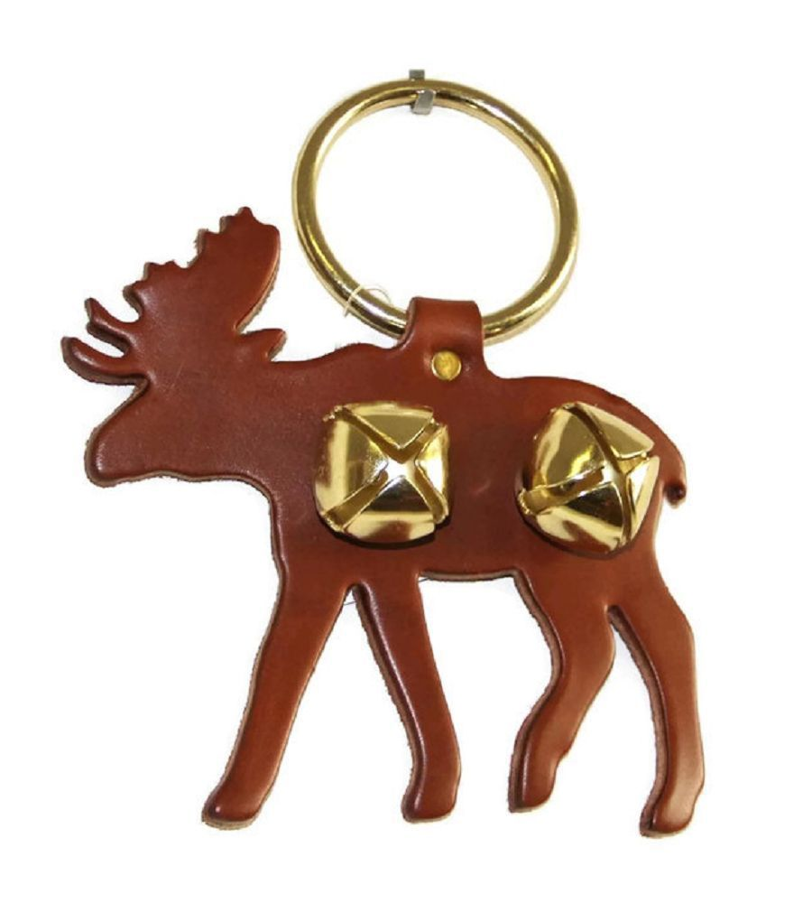 Primary image for BROWN MOOSE DOOR CHIME - LEATHER w/ SLEIGH BELLS - Amish Handmade in the USA
