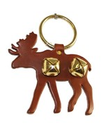 BROWN MOOSE DOOR CHIME - LEATHER w/ SLEIGH BELLS - Amish Handmade in the... - $19.57
