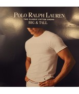 2 GENUINE POLO RALPH LAUREN MENS 6XL 100% COTTON WHITE CREW T SHIRTS UND... - $39.59