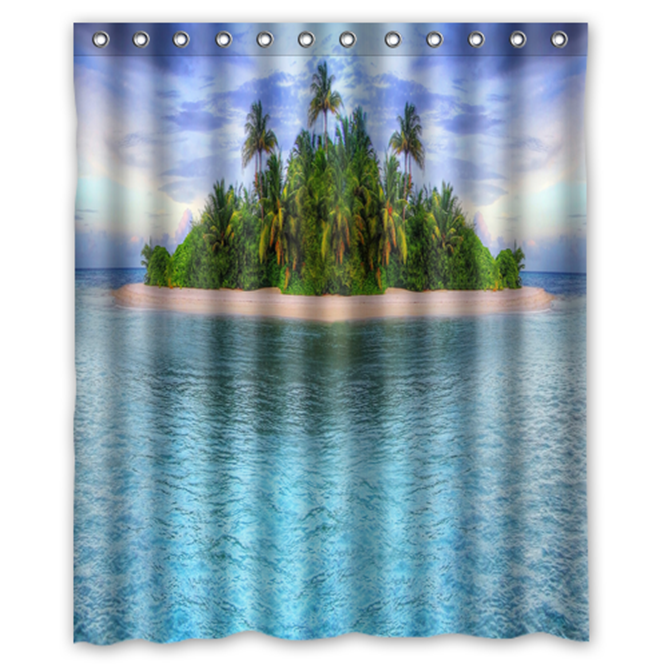 Primary image for Tropical Island #01  Shower Curtain Waterproof Made From Polyester