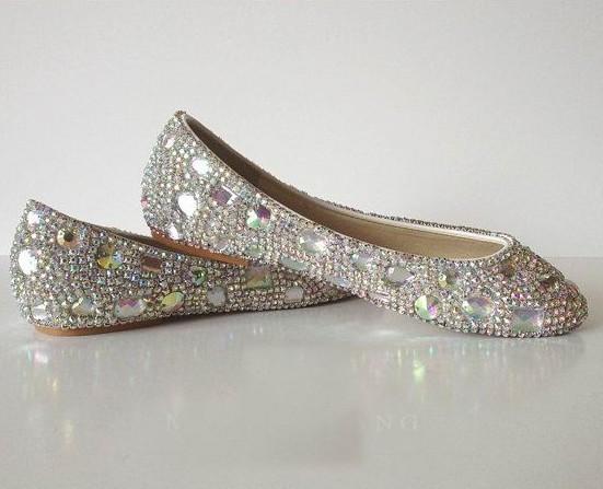sparkly Wedding Ballet Flats Shoes Glitter Bride Bridesmaid Shoe Swarovski Shiny