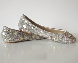 sparkly Wedding Ballet Flats Shoes Glitter Bride Bridesmaid Shoe Swarovski Shiny - $125.00
