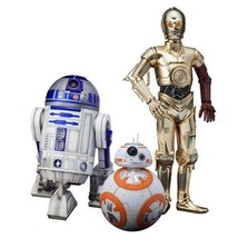 Star Wars Force Awakens C-3PO R2-D2 BB-8 Artfx+ 1:10 Scale Statue Set Ko... - $129.95