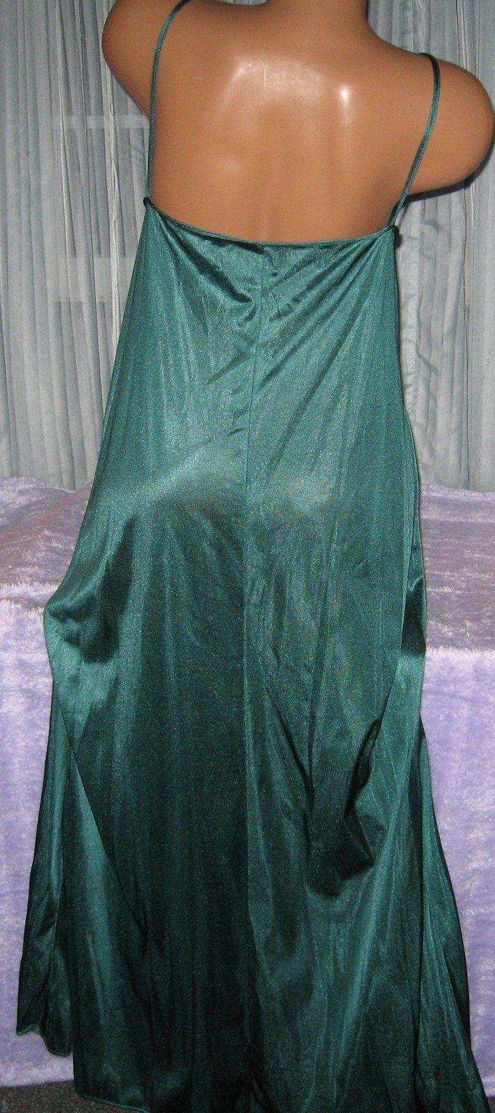 Hunter Green Black Lace Trim Front Slit Long Night Gowns 1X Nylon