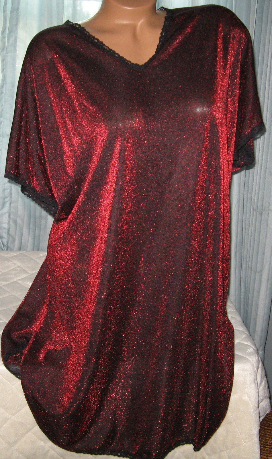 Red Black Metallic Semi Sheer Oversized Sleepshirt Short Gown S M