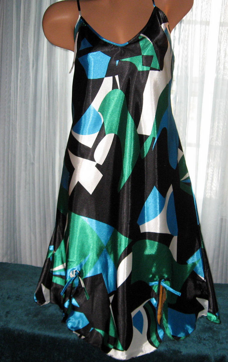 Black Green Blue Abstract Chemise Short Gown 1X 2X Plus Adjustable straps
