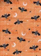 Halloween Black Bats & Moons and Stars on Orang... - $7.87