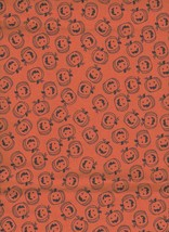 "Halloween Black Pumpkins Jack o Lanterns on Orange Fabric 36"" x 38"" New ... - $8.50"