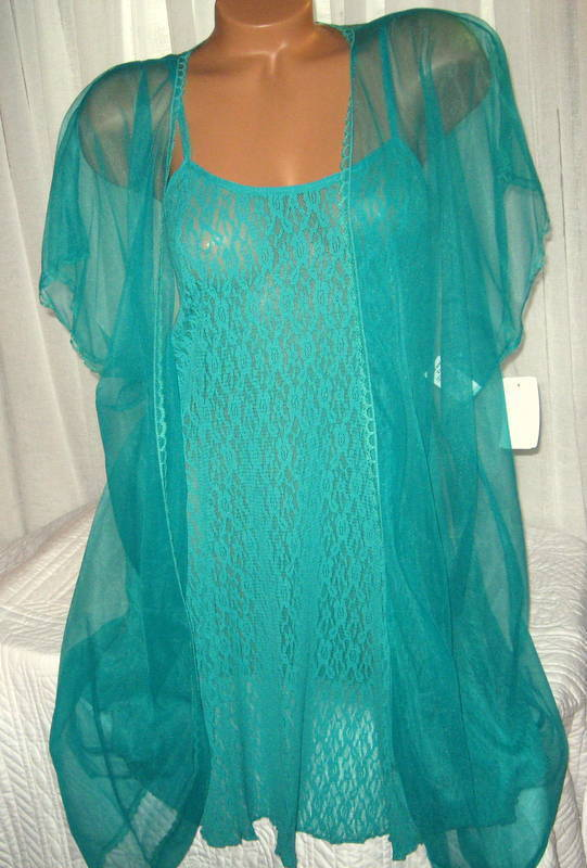Stretch Lace Chemise and Robe Set 1X 2X Short Nightgown Green 2 Piece
